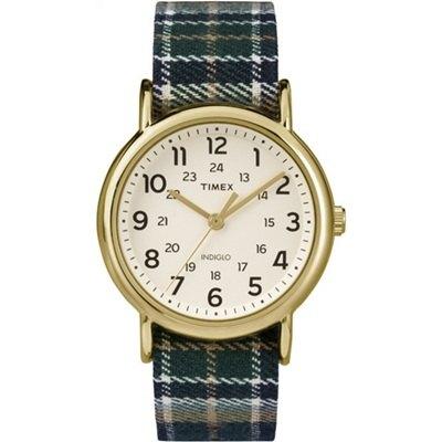 TIMEX 天美時經典復刻冷光Weekender系列腕錶-米色面x綠藍格紋布帶/38mm