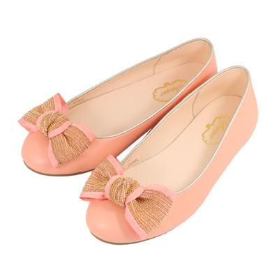 Swan天鵝童鞋-法式風格金鍊蝴蝶結公主鞋8613-桃