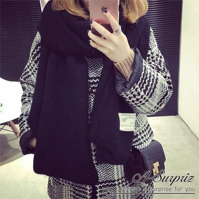 A-Surpriz-經典純色縫標針織加厚圍巾-黑