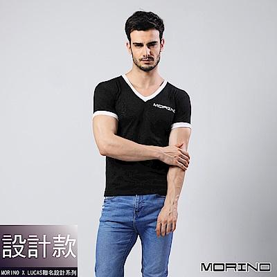 男內衣 設計師聯名-經典緹花短袖衫/T恤  黑色 MORINOxLUCAS