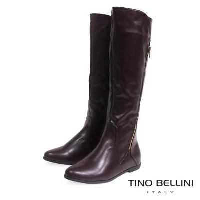 Tino Bellini 俐落中性拉鍊線條平底長筒靴_咖