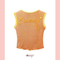 Annys鮮豔黃繩索造型條紋無袖短版上衣*4370黃