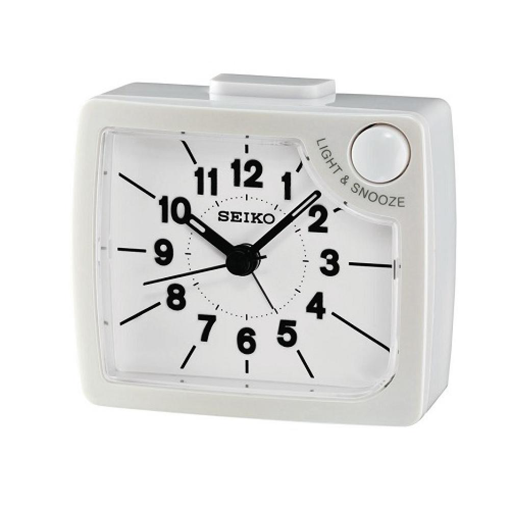 SEIKO 精工 嗶嗶聲 靜音 貪睡鬧鐘(QHE120W)-白/6.5x7.6cm