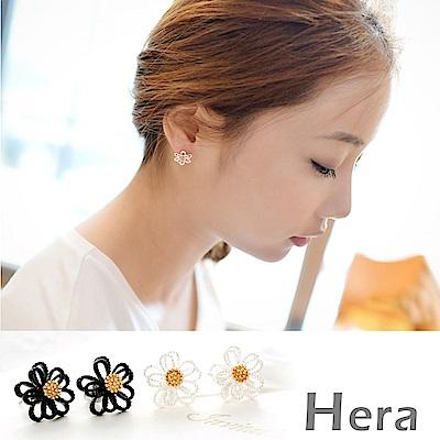 Hera 赫拉 簍空線條雛菊無耳洞夾式耳環/耳環