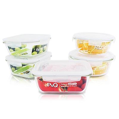 樂扣樂扣 P&Q耐熱玻璃保鮮盒10件超值組(含蓋) (快)