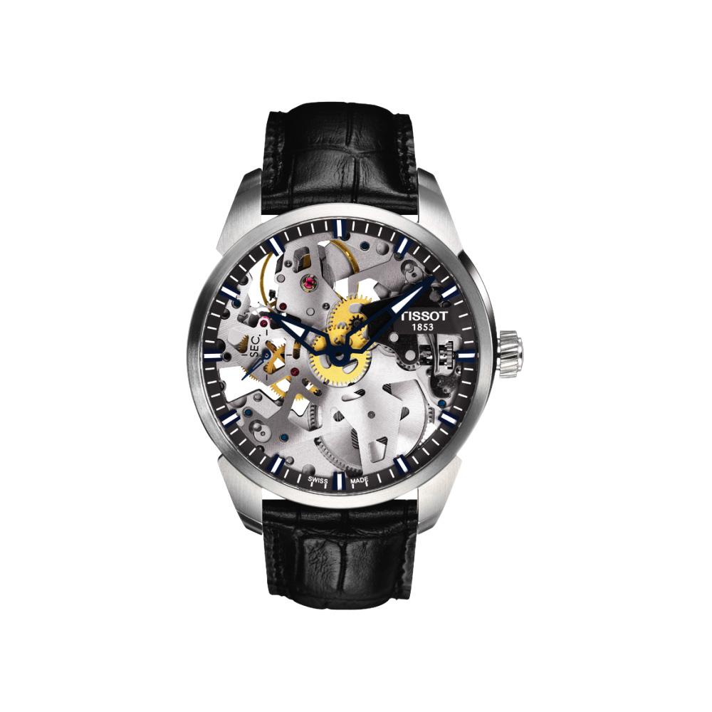 TISSOT T-Classic T-Complication 鏤空手動上鍊腕錶-43mm