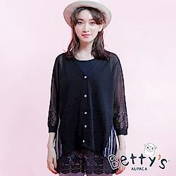betty's貝蒂思 拼接雪紡輕透縷空針織罩衫(黑色)