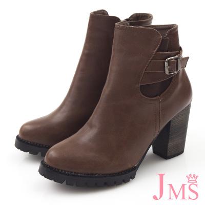 JMS-歐美風都會時尚側皮革搭釦粗跟短靴-咖色