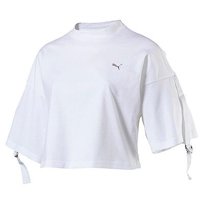 PUMA-女性流行系列芭蕾風短版短袖T恤-白色-亞規