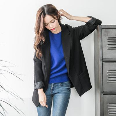 正韓-雙口袋單釦西裝外套-共二色-IKODE