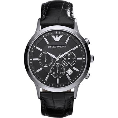 ARMANI 亞曼尼經典質感三眼計時真皮手錶-黑/43mm