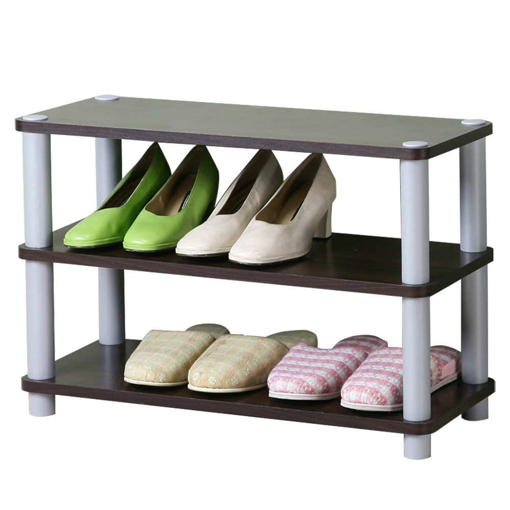 Homelike 簡約三層開放式鞋架-胡桃
