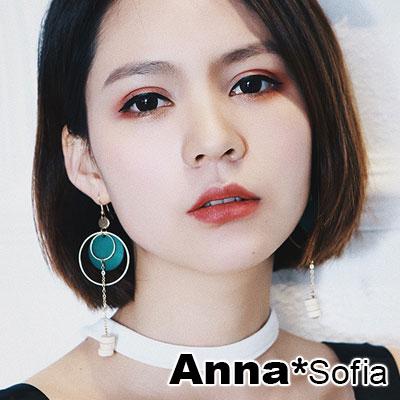 【2件399】AnnaSofia 金圈圓木垂木串墬 大型耳針耳環(綠木系)