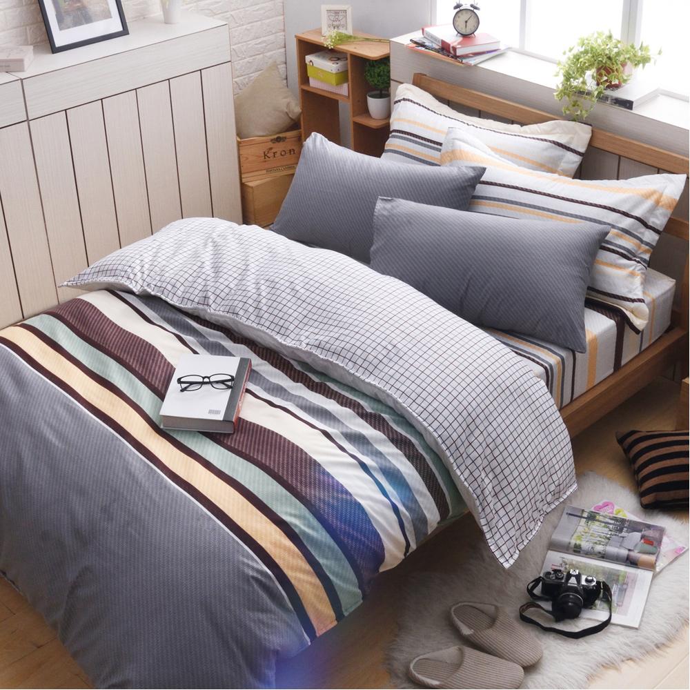 日本濱川佐櫻-特調品味 文青風柔絲絨雙人四件式全鋪棉兩用被床包組
