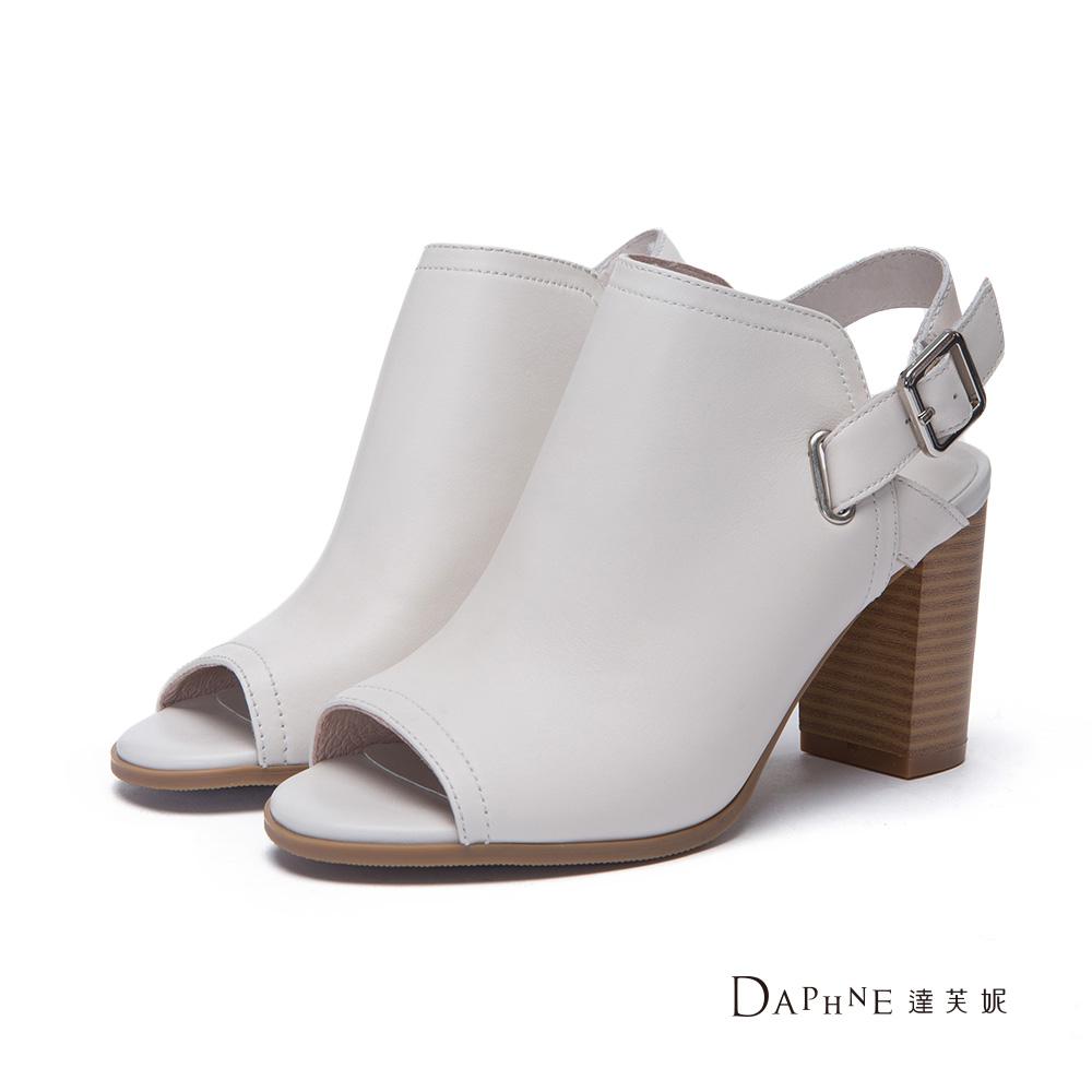 達芙妮DAPHNE 跟鞋-後拉帶半靴型魚口高跟涼鞋-米白