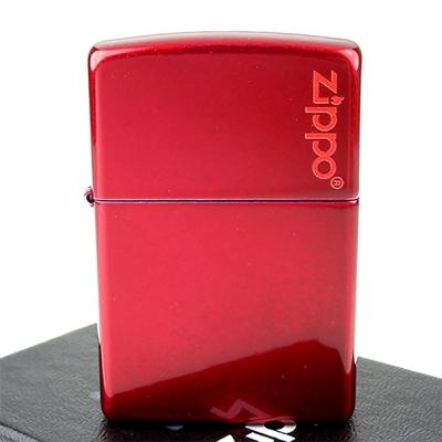 【ZIPPO】美系~LOGO字樣打火機-Candy Apple Red-蘋果糖紅色烤漆