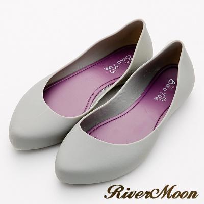 River&Moon雨鞋-晴雨二穿素面Q軟防水微尖頭低跟鞋-灰系