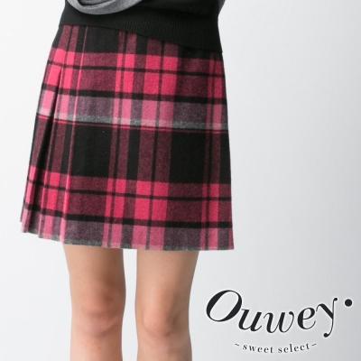 OUWEY歐薇-蜜桃女孩毛料壓摺裙