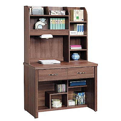 H&D 柚木色3.2尺書桌組 (寬96X深58X高166cm)