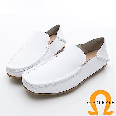 GEORGE 喬治-水洗系列 素面縫線懶人休閒鞋 男鞋-白