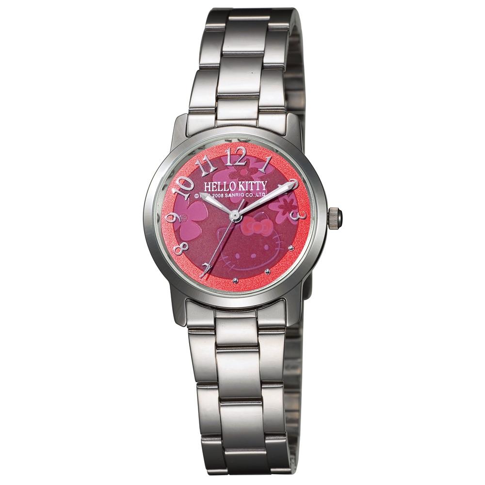 HELLO KITTY 凱蒂貓俏皮小花時尚腕錶-紅色/30mm