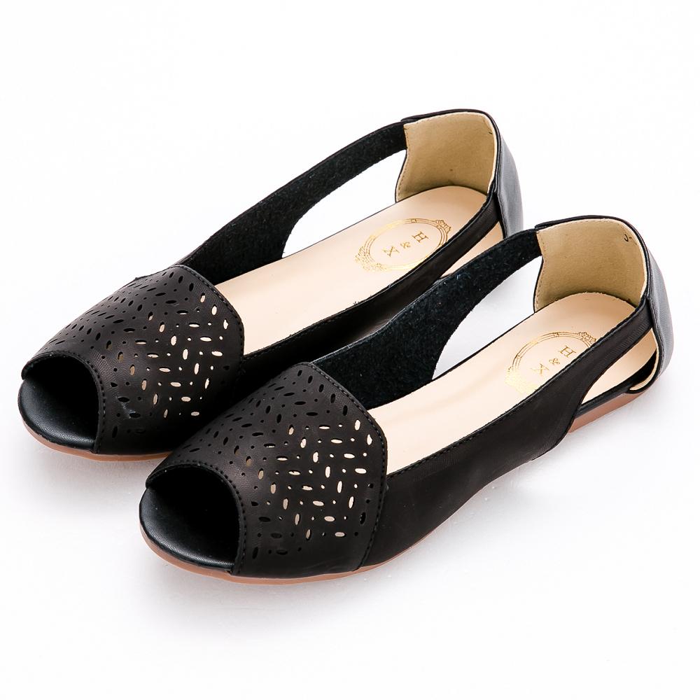 River&Moon涼鞋-韓系幾何簍空洞洞露趾平底涼鞋-黑