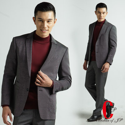 Christian-經典內領撞色點狀織紋休閒西裝-黑色-DW308-88
