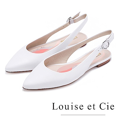 Louise et Cie 優雅尖頭攜帶低跟鞋--白色