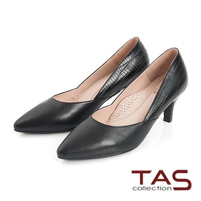 TAS-蛇紋牛皮拼接側v曲線尖頭高跟鞋-質感黑