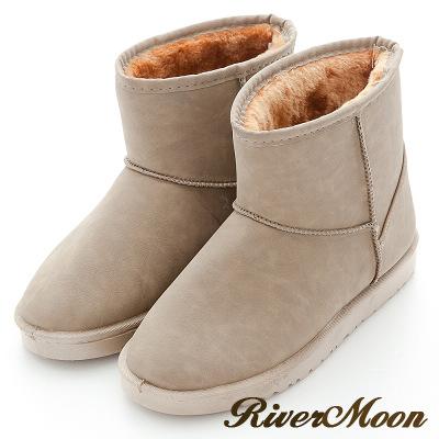 River&Moon韓風極簡素面防潑水內噗毛軟底雪靴-卡其