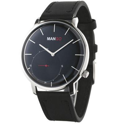 MANGO HOMME 簡約中性皮革時尚腕錶 黑x銀/41mm