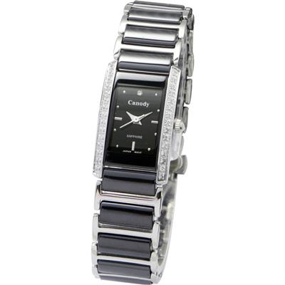 Canody 珍愛時光陶瓷鑽錶-黑/17x23mm