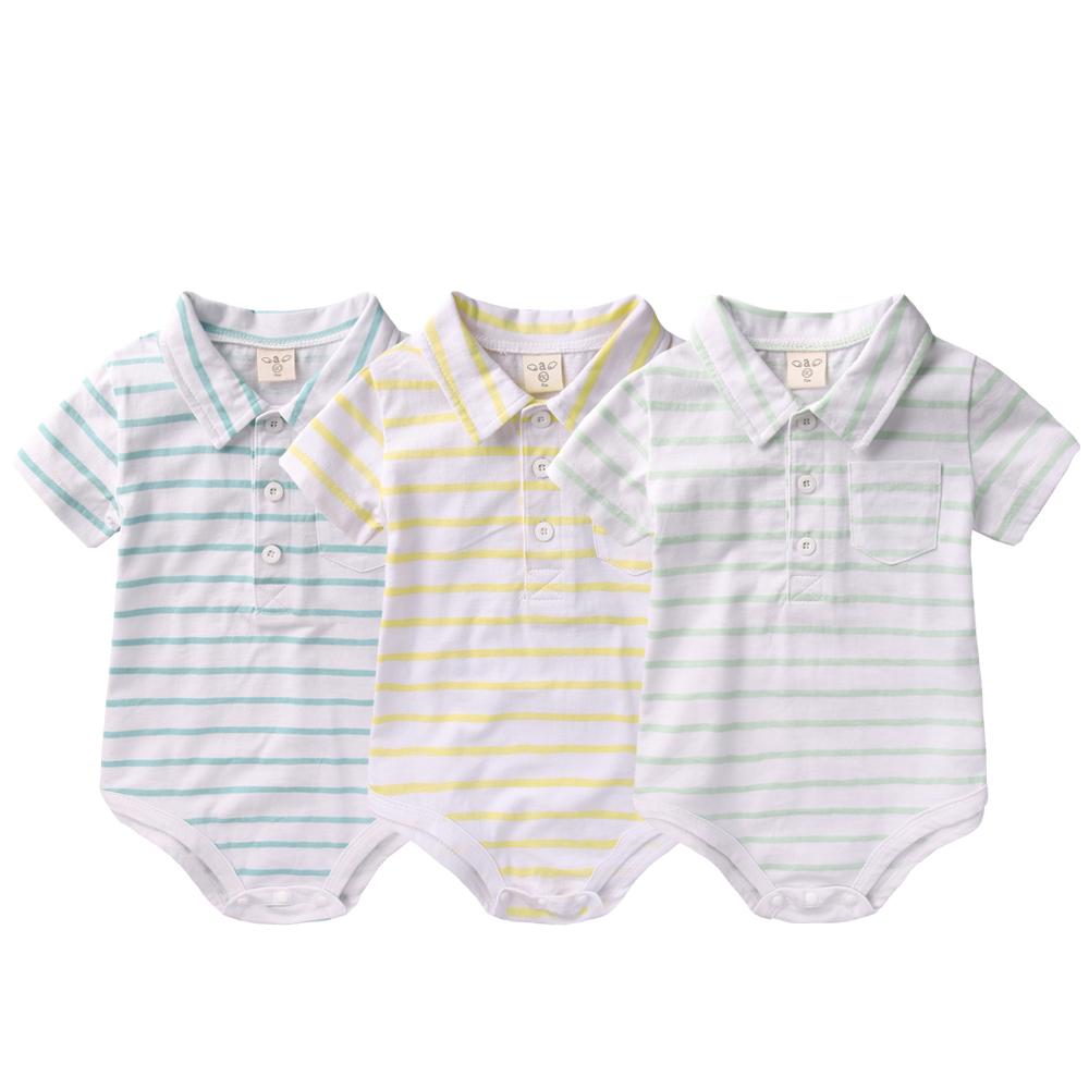 baby童衣 嬰兒連身衣 立領條紋三角包屁衣 52229