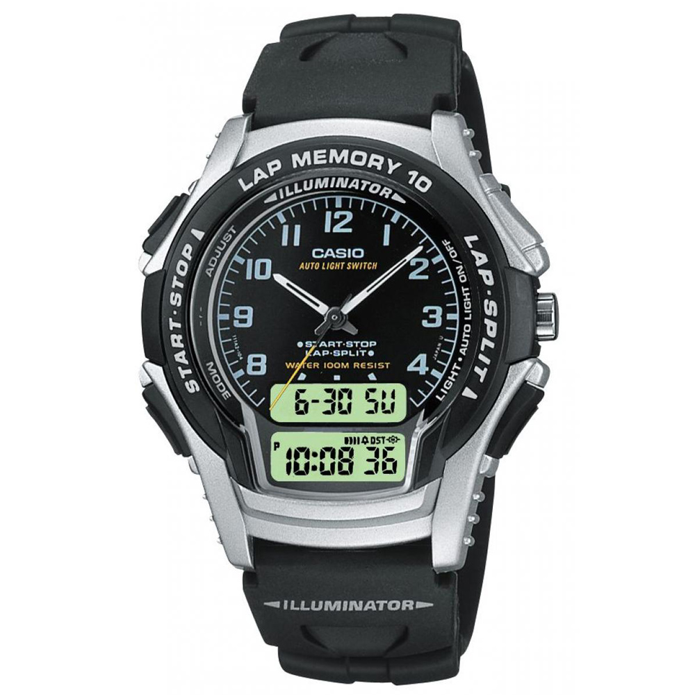 CASIO黑衣武士指針雙顯錶(WS-300-1B)-黑色/39mm