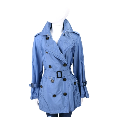 BURBERRY 藍色皺褶細節塔夫綢防雨風衣