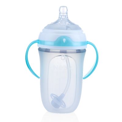 【Nuby】Comfort 寬口徑360度滾珠吸管防脹氣矽膠奶瓶(250ml)(3M+)