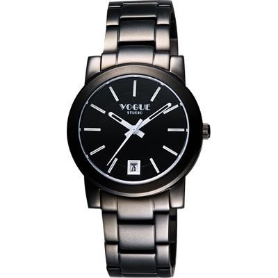 VOGUE 都會雅仕大三針腕錶-IP黑/白時標/38mm