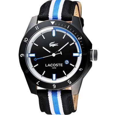 Lacoste 鱷魚 時尚玩家腕錶-黑x雙色版/44mm