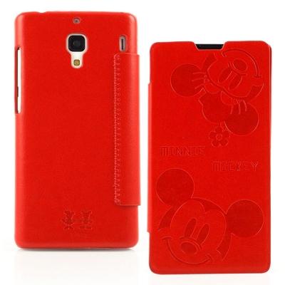 Disney Xiaomi 紅米機可愛米奇米妮時尚壓紋皮套