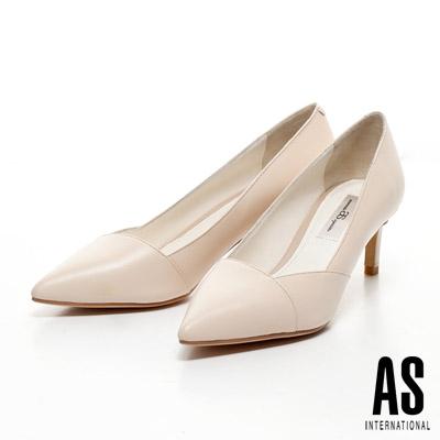 AS-時尚優雅美型羊皮尖頭高跟鞋-米