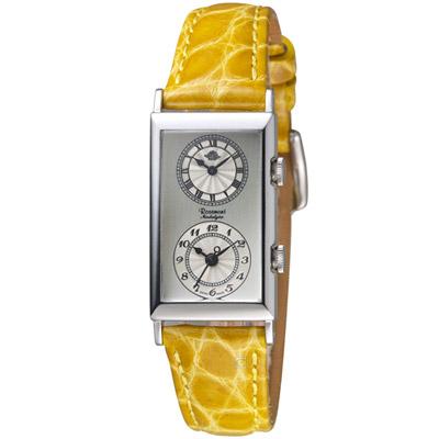 玫瑰錶 Rosemont 雙時區典雅時尚腕錶-黃色/33x20mm