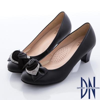 DN-優雅浪漫-低調奢華鑽飾蝴蝶結高跟鞋-黑