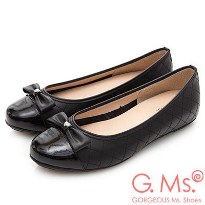 G.Ms. MIT系列-漆皮拼接菱格牛皮娃娃鞋-黑色