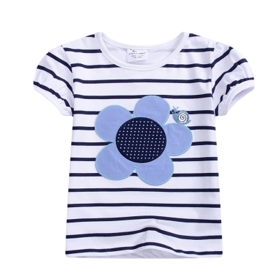 上衣 女童 條紋向日葵 歐美經典兒童純棉短袖T恤