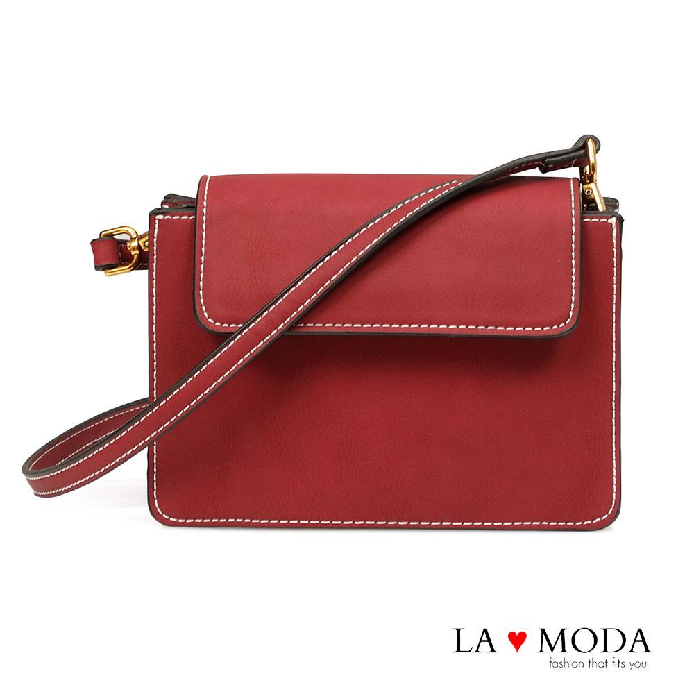 La Moda 率性輕甜出遊百搭肩背斜背小方包(紅)