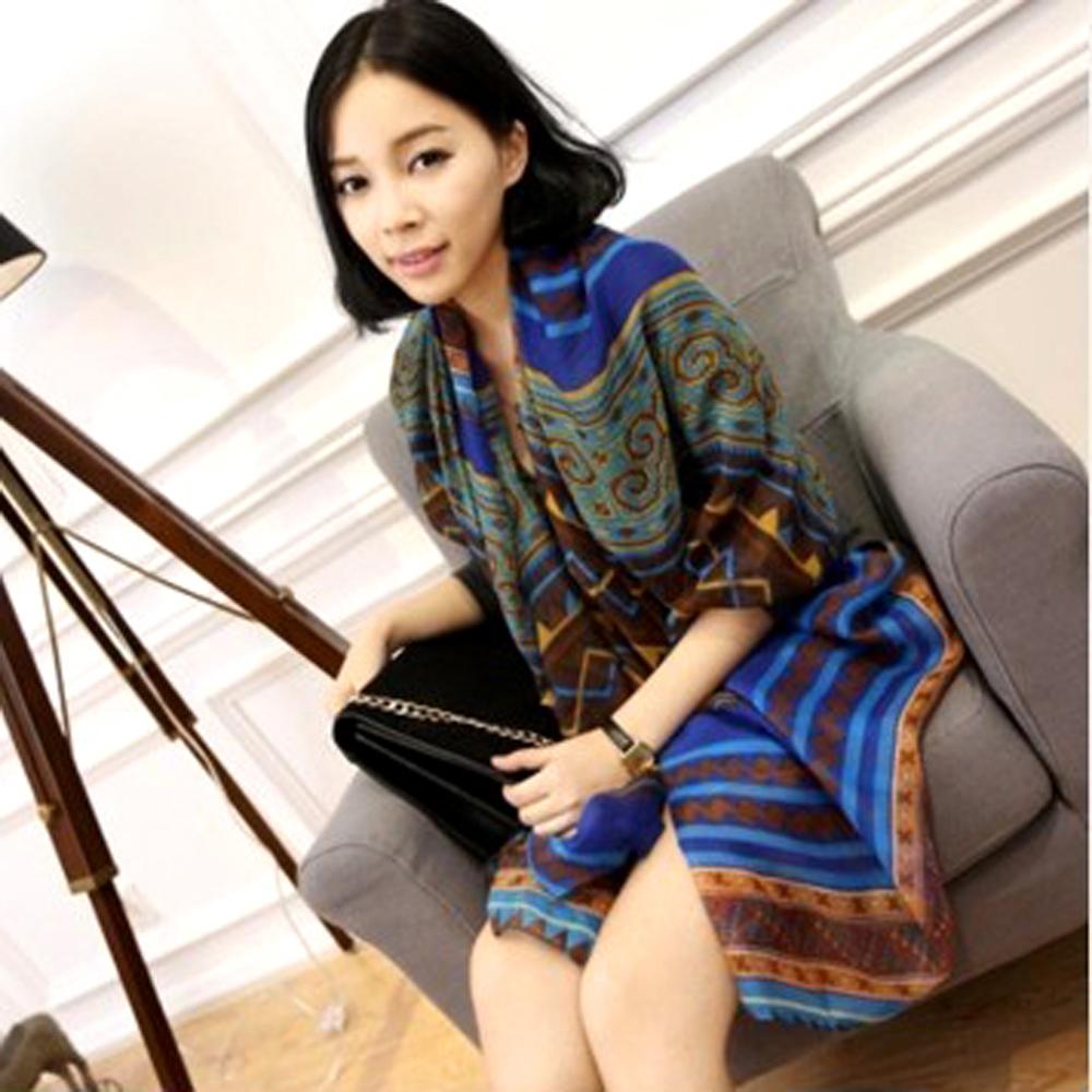 【Aimee Toff】摩洛哥華時尚巴黎紗圍巾(藍)