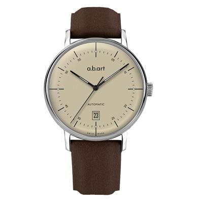 a.b.art G系列 復古日期大三針機械腕錶-米色/40.5mm