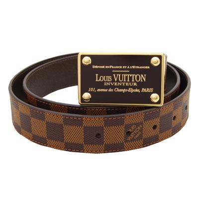 LV Damier咖啡色棋盤格雙面皮帶(90/100CM)