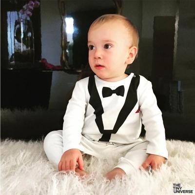 The Tiny Universe 瑞典 白色小紳士 長袖派對連身衣