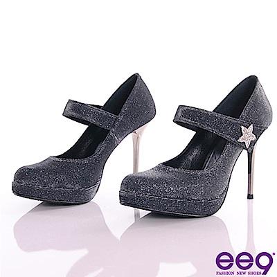 ee9-星鑽閃耀進口閃亮斜紋布夢幻亮鑽高跟鞋-黑色